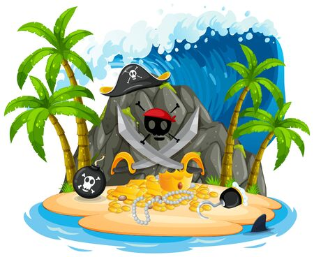 Isolated pirate island on white illustration