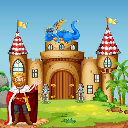 Smoczy król na zamku Ilustracje wektorowe