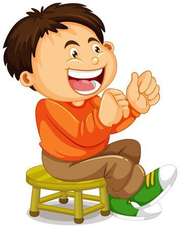 Un garçon assis sur la chaise illustration