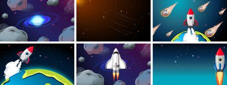 Big space scene set illustration