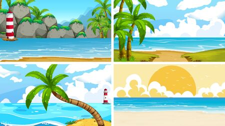 Set of tropical ocean nature scenes with beaches illustration