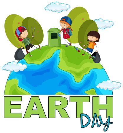 Kinder, die Müll Posterillustration zum Tag der Erde aufheben