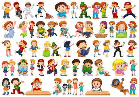 Enfants en grand groupe jouant notre illustration de divers rôles