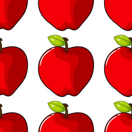 Seamless pattern tile cartoon with apples illustration