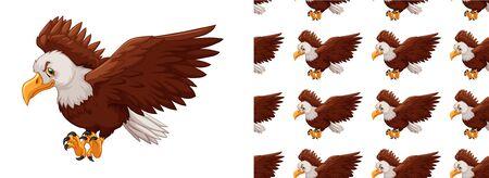 Seamless background design with eagle illustration