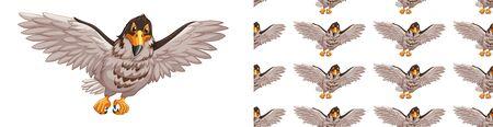 Seamless background design with hawk illustration