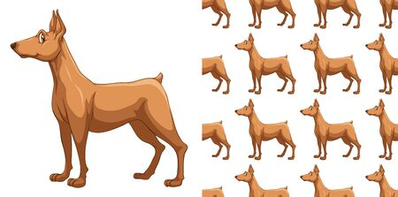 Seamless and isolated animal pattern cartoon illustration 스톡 콘텐츠 - 127920896