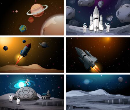 Set of outer space scenes illustration