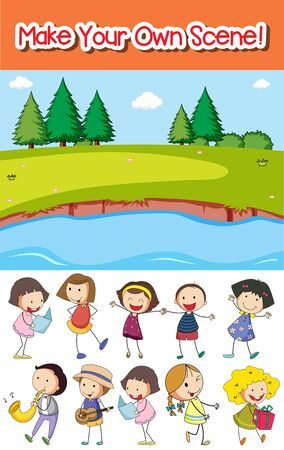 Make your own park scene with kids  illustration