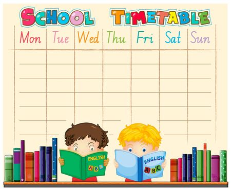 Timetable school planning with characters illustration Vector Illustratie
