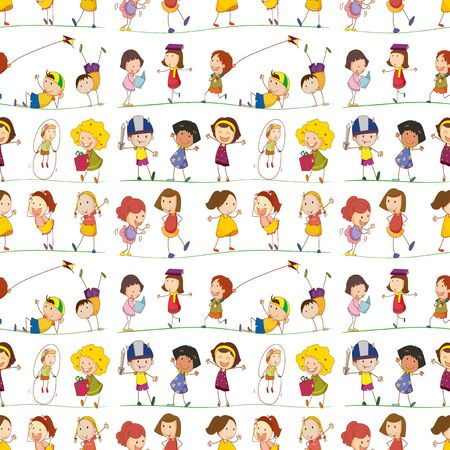 Seamless pattern tile cartoon with doodle kids illustration