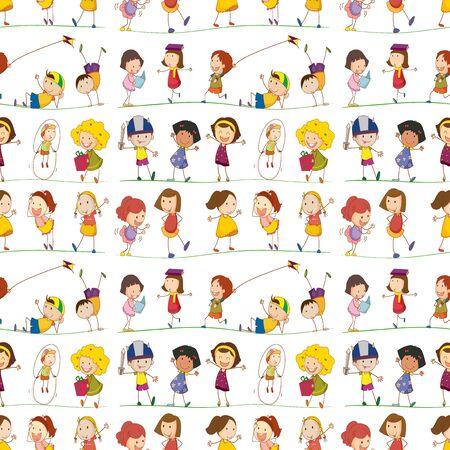 Seamless pattern tile cartoon with doodle kids illustration