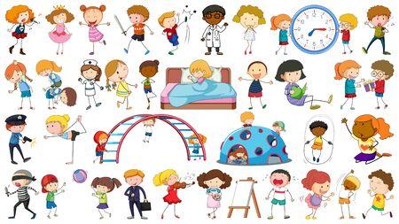 Conjunto de ilustración de personajes simples Ilustración de vector