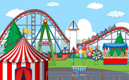 An outdoor funfair scene illustration Stock Vector - 128048467