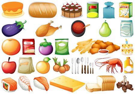 Zestaw różnych ilustracji żywności