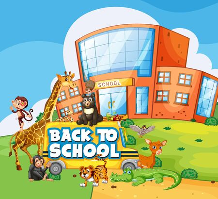 Back to school template with animals illustration Çizim