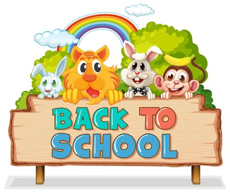 Back to school template with animals illustration Иллюстрация