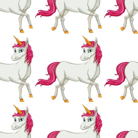 Seamless pattern tile cartoon with unicorn illustration