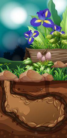 Nature scene with flowers and mushroom illustration Ilustrace