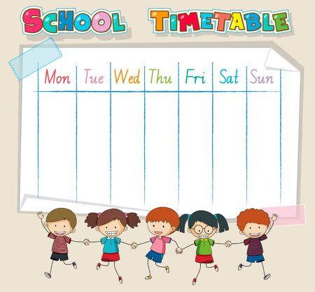 Timetable school planning with characters illustration