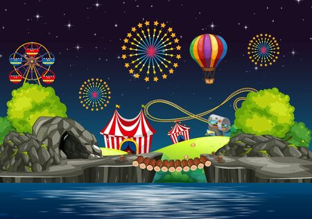 Scene background design with circus at night  illustration