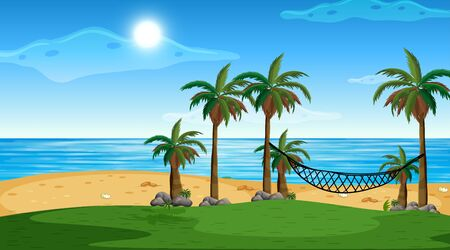 Empty nature beach ocean coastal landscape illustration Иллюстрация