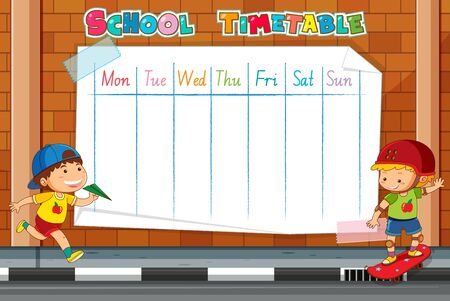 A school timetable blank template with cartoons Ilustrace