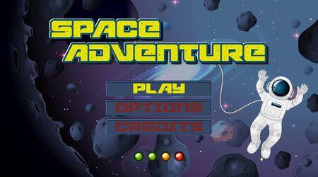 Space adventure game background illustration Ilustrace
