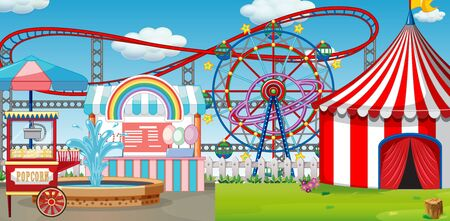 An outdoor funfair scene with roller coaster illustration
