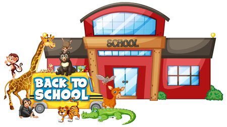 Back to school template with animals illustration Ilustrace