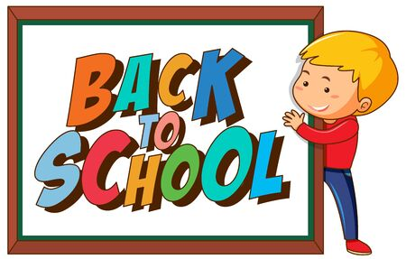 Back to school template withboy illustration