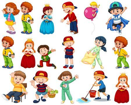 Bambini in un grande gruppo che recitano i nostri vari ruoli illustrazione Vettoriali