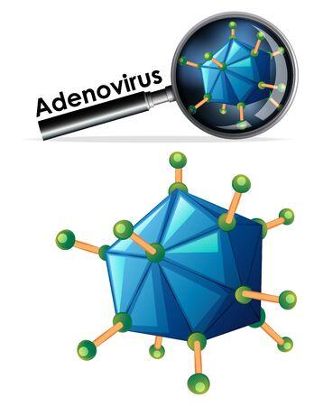 Close up isolated object of virus named Adenovirus illustration