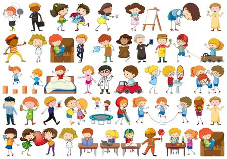 set of different simple characters illustration Ilustrace