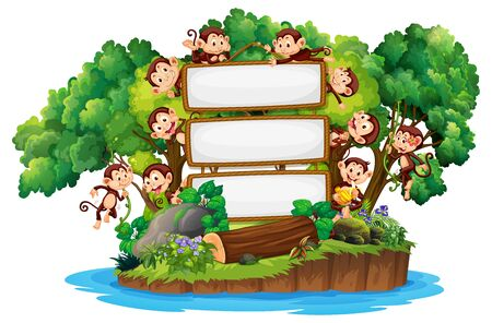 Border template design with cute monkeys on island illustration