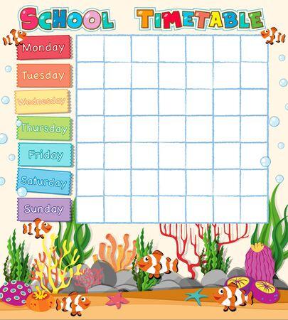 Una plantilla en blanco de horario escolar con dibujos animados.