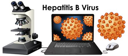Close up isolated object of virus Hepatitis B  illustration