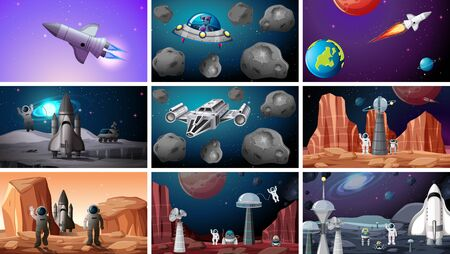 Set of space backgrounds illustration