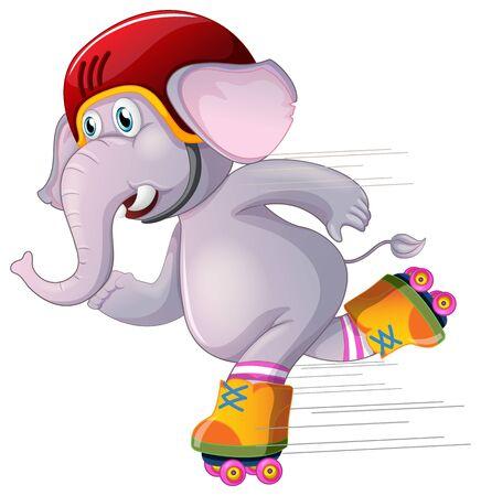 Gray elephant skating on white background illustration