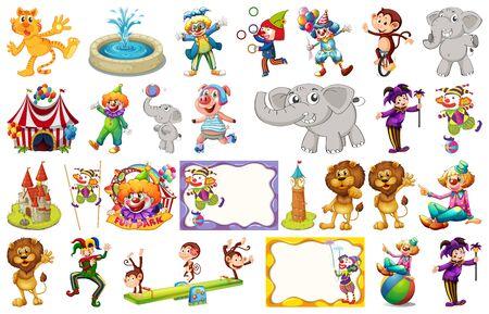 Conjunto de diferentes objetos de circo y animales ilustración. Ilustración de vector