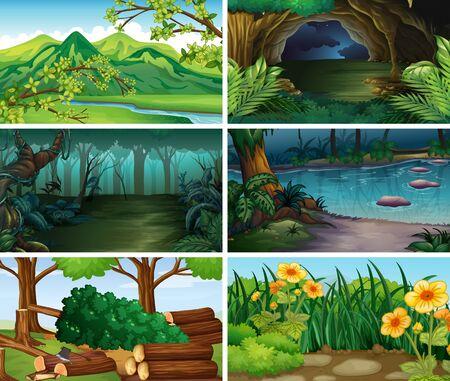 Ilustración de escenas de naturaleza de paisaje vacío, en blanco