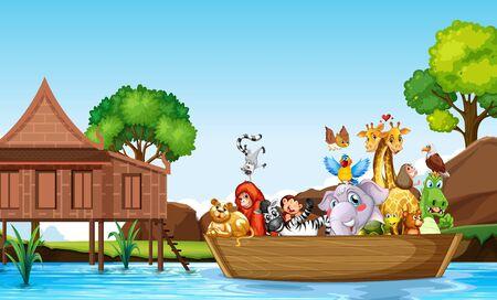 Many cute animals rowing boat  illustration Ilustrace