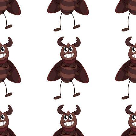 Seamless pattern tile cartoon with beetle illustration