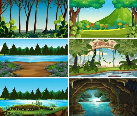 Empty, blank landscape nature scenes illustration