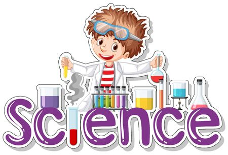 Sticker design with scientist doing experiment Ilustracja
