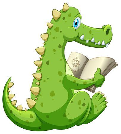 Crocodile reading book on white background illustration