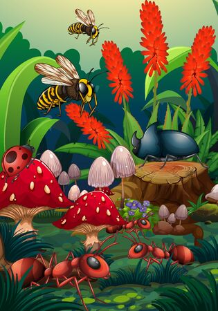 Nature scene with insects in garden Ilustrace