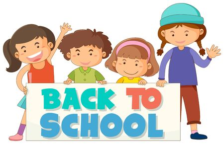 Back to school template with children Ilustracja