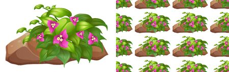 Seamless background design with pink flowers on stone illustration