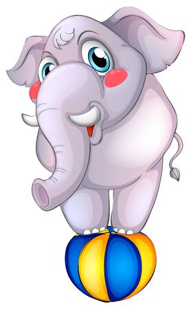 Gray elephant on ball on white